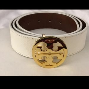 "Tory burch white 1 1/2"" Leather belt"